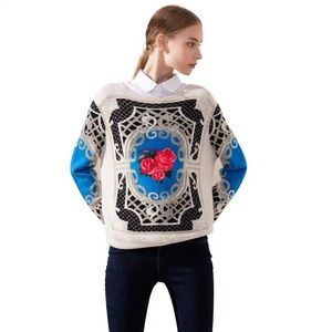 Embroidered Blue & Red Rose Sweater